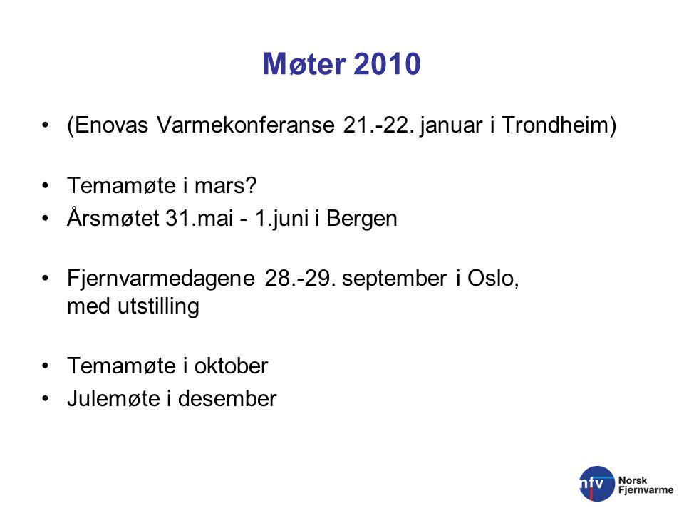 Møter 2010 (Enovas Varmekonferanse 21.-22. januar i Trondheim) Temamøte i mars.