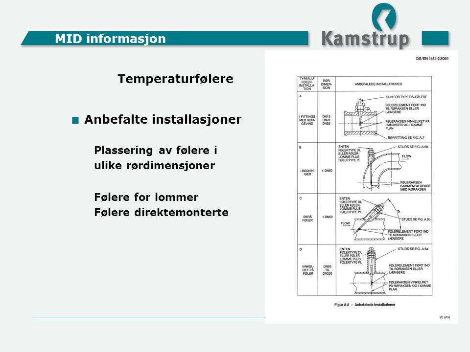 MID informasjon  Anbefalte installasjoner Plassering av følere i ulike rørdimensjoner Følere for lommer Følere direktemonterte Temperaturfølere