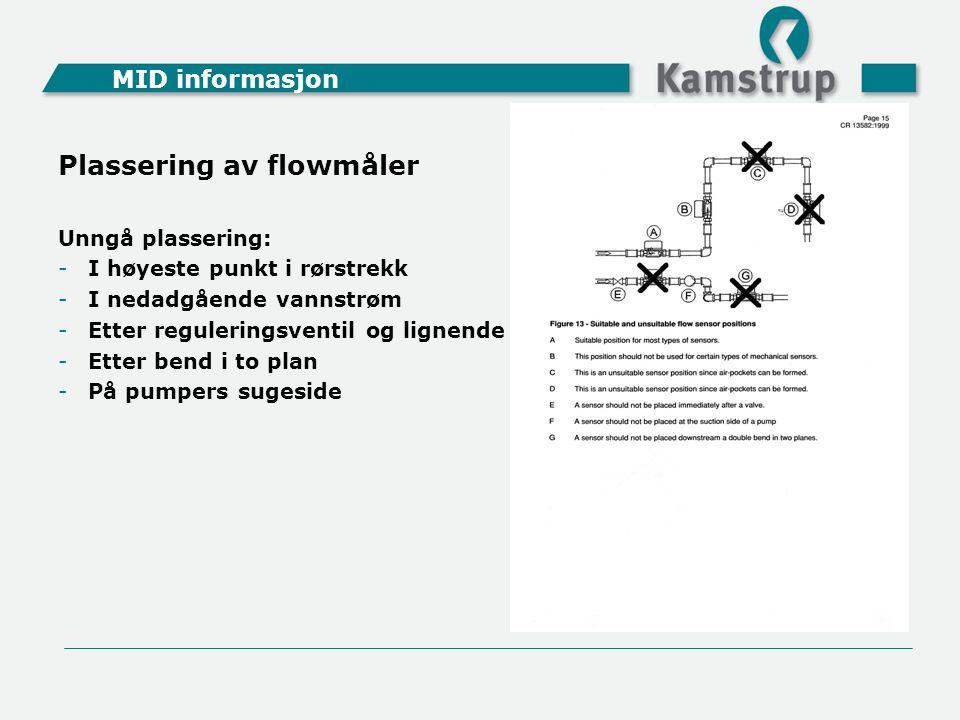 MID informasjon Plassering av flowmåler Unngå plassering: -I høyeste punkt i rørstrekk -I nedadgående vannstrøm -Etter reguleringsventil og lignende -