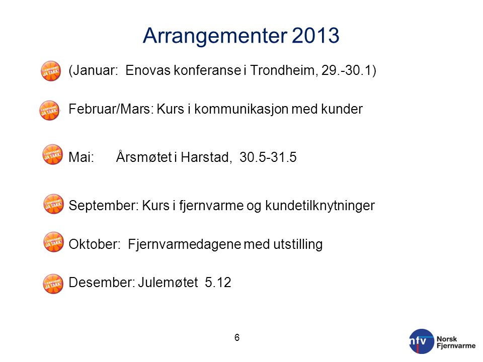 Arrangementer 2013 o (Januar: Enovas konferanse i Trondheim, 29.-30.1) o Februar/Mars: Kurs i kommunikasjon med kunder o Mai: Årsmøtet i Harstad, 30.5