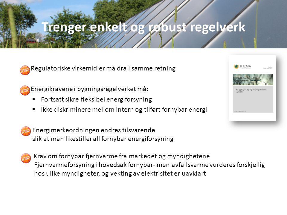 Regulatoriske virkemidler må dra i samme retning Energikravene i bygningsregelverket må:  Fortsatt sikre fleksibel energiforsyning  Ikke diskriminere mellom intern og tilført fornybar energi Energimerkeordningen endres tilsvarende slik at man likestiller all fornybar energiforsyning Krav om fornybar fjernvarme fra markedet og myndighetene Fjernvarmeforsyning i hovedsak fornybar- men avfallsvarme vurderes forskjellig hos ulike myndigheter, og vekting av elektrisitet er uavklart Trenger enkelt og robust regelverk