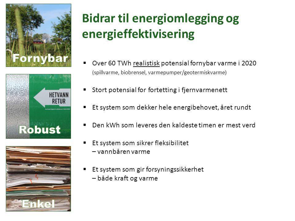Bidrar til energiomlegging og energieffektivisering  Over 60 TWh realistisk potensial fornybar varme i 2020 (spillvarme, biobrensel, varmepumper/geotermiskvarme)  Stort potensial for fortetting i fjernvarmenett  Et system som dekker hele energibehovet, året rundt  Den kWh som leveres den kaldeste timen er mest verd  Et system som sikrer fleksibilitet – vannbåren varme  Et system som gir forsyningssikkerhet – både kraft og varme