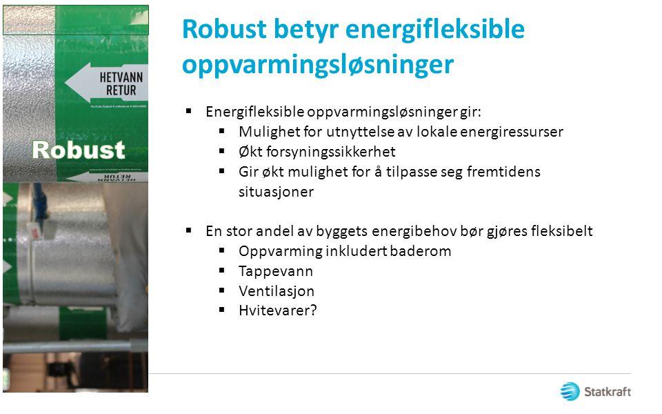 Robust betyr energifleksible oppvarmingsløsninger  Energifleksible oppvarmingsløsninger gir:  Mulighet for utnyttelse av lokale energiressurser  Øk