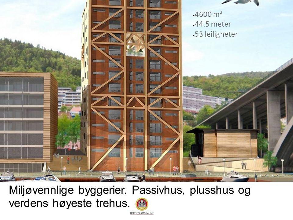 Miljøvennlige byggerier. Passivhus, plusshus og verdens høyeste trehus.  4600 m²  44.5 meter  53 leiligheter