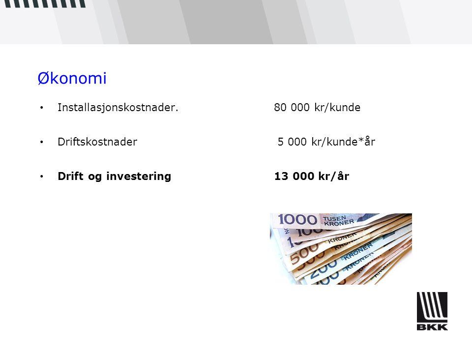 Økonomi Installasjonskostnader. 80 000 kr/kunde Driftskostnader 5 000 kr/kunde*år Drift og investering 13 000 kr/år