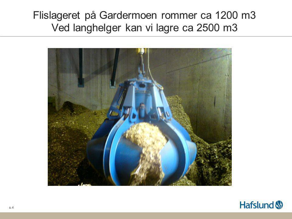 s.4 Flislageret på Gardermoen rommer ca 1200 m3 Ved langhelger kan vi lagre ca 2500 m3