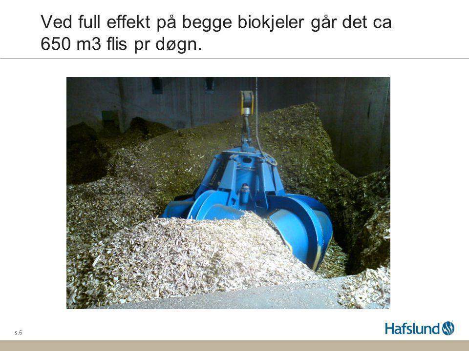 s.5 Ved full effekt på begge biokjeler går det ca 650 m3 flis pr døgn.