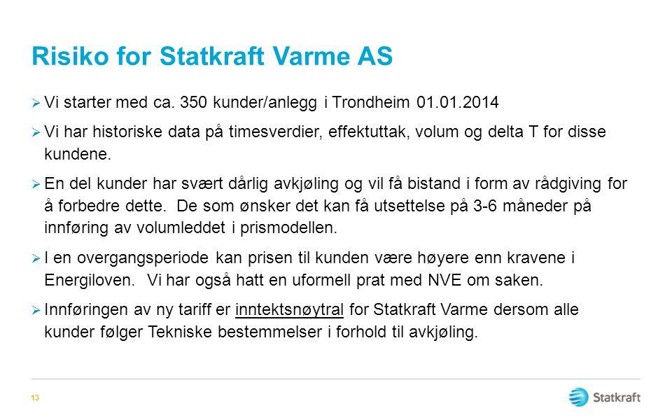 Risiko for Statkraft Varme AS 13  Vi starter med ca. 350 kunder/anlegg i Trondheim 01.01.2014  Vi har historiske data på timesverdier, effektuttak,