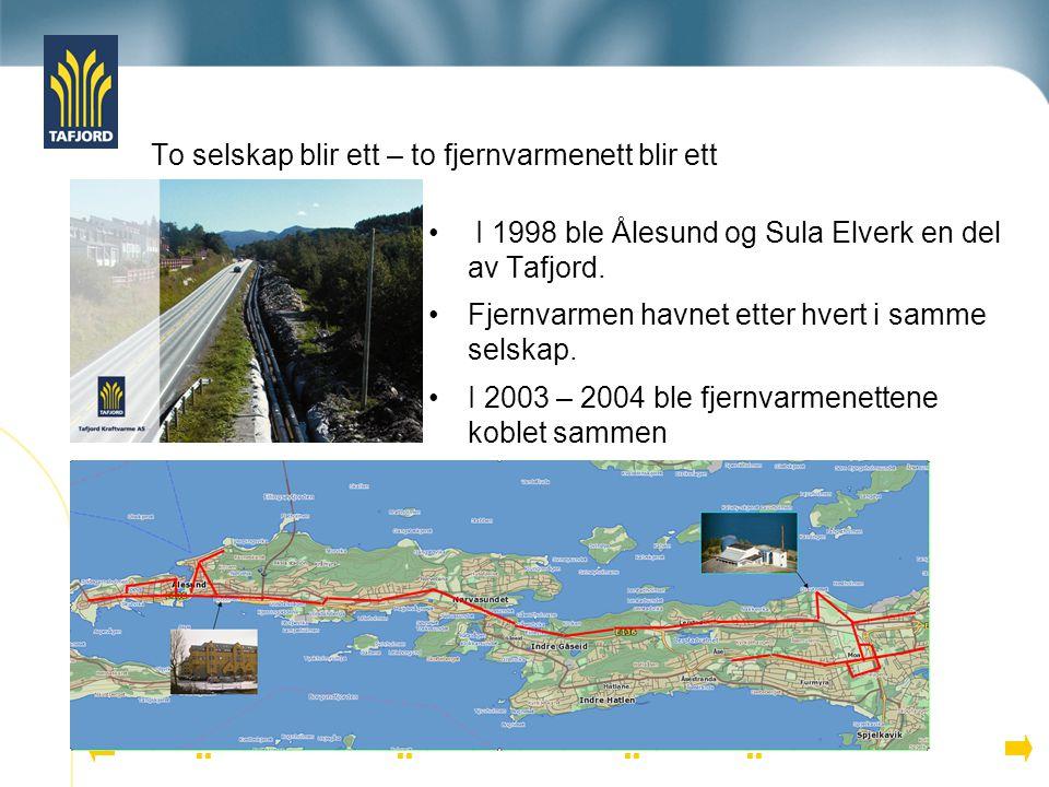 To selskap blir ett – to fjernvarmenett blir ett I 1998 ble Ålesund og Sula Elverk en del av Tafjord. Fjernvarmen havnet etter hvert i samme selskap.