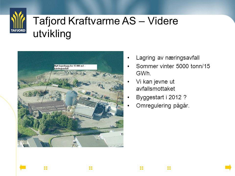 Tafjord Kraftvarme AS – Videre utvikling          Lagring av næringsavfall Sommer vinter 5000 tonn/15 GWh. Vi kan jevne ut avfallsmott