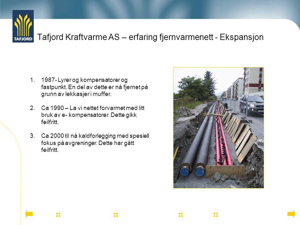 Tafjord Kraftvarme AS – erfaring fjernvarmenett - Ekspansjon          1.1987- Lyrer og kompensatorer og fastpunkt. En del av dette er
