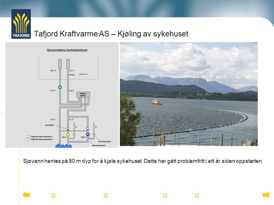 Tafjord Kraftvarme AS – Kjøling av sykehuset          Sjøvann hentes på 80 m dyp for å kjøle sykehuset. Dette har gått problemfritt i