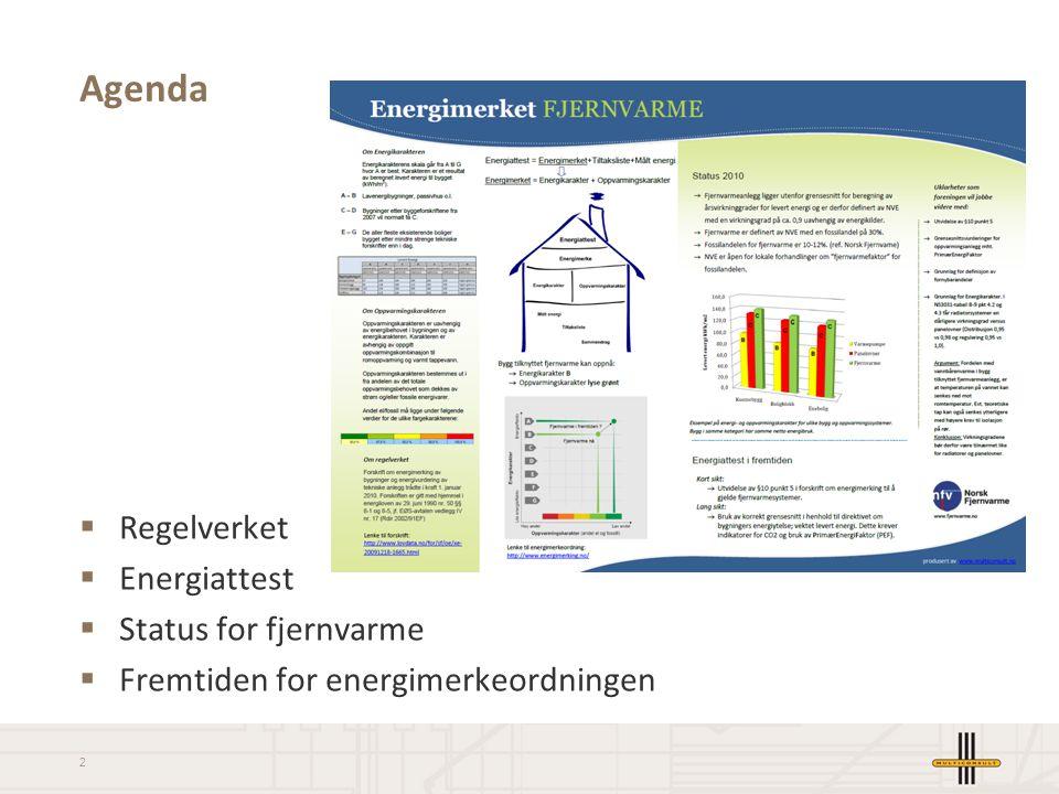 2 Agenda  Regelverket  Energiattest  Status for fjernvarme  Fremtiden for energimerkeordningen