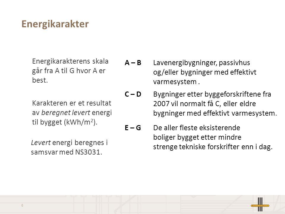 6 Energikarakter Energikarakterens skala går fra A til G hvor A er best. Karakteren er et resultat av beregnet levert energi til bygget (kWh/m 2 ). A