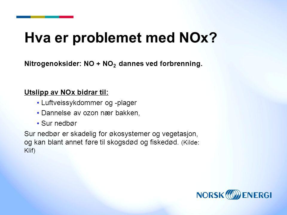 Hva er problemet med NOx? Nitrogenoksider: NO + NO 2 dannes ved forbrenning. Utslipp av NOx bidrar til: Luftveissykdommer og -plager Dannelse av ozon