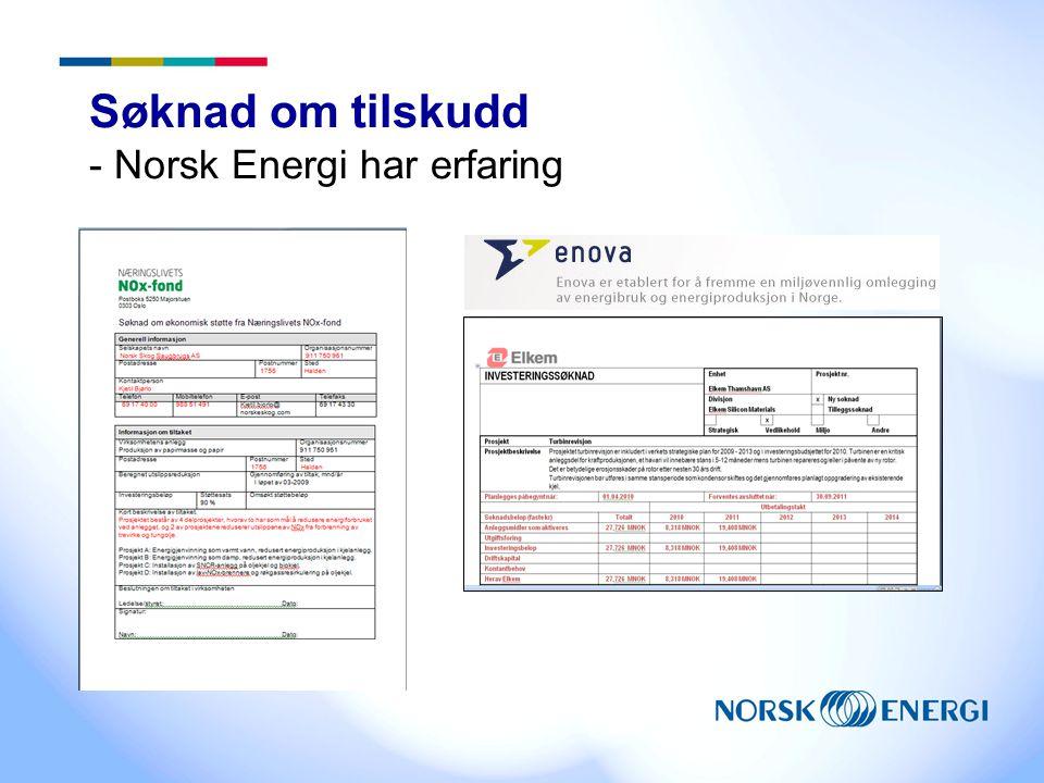 Søknad om tilskudd - Norsk Energi har erfaring