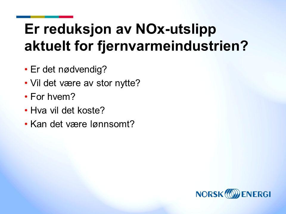 Er reduksjon av NOx-utslipp aktuelt for fjernvarmeindustrien? Er det nødvendig? Vil det være av stor nytte? For hvem? Hva vil det koste? Kan det være