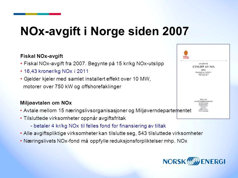 NOx-avgift i Norge siden 2007 Fiskal NOx-avgift Fiskal NOx-avgift fra 2007. Begynte på 15 kr/kg NOx-utslipp 16,43 kroner/kg NOx i 2011 Gjelder kjeler