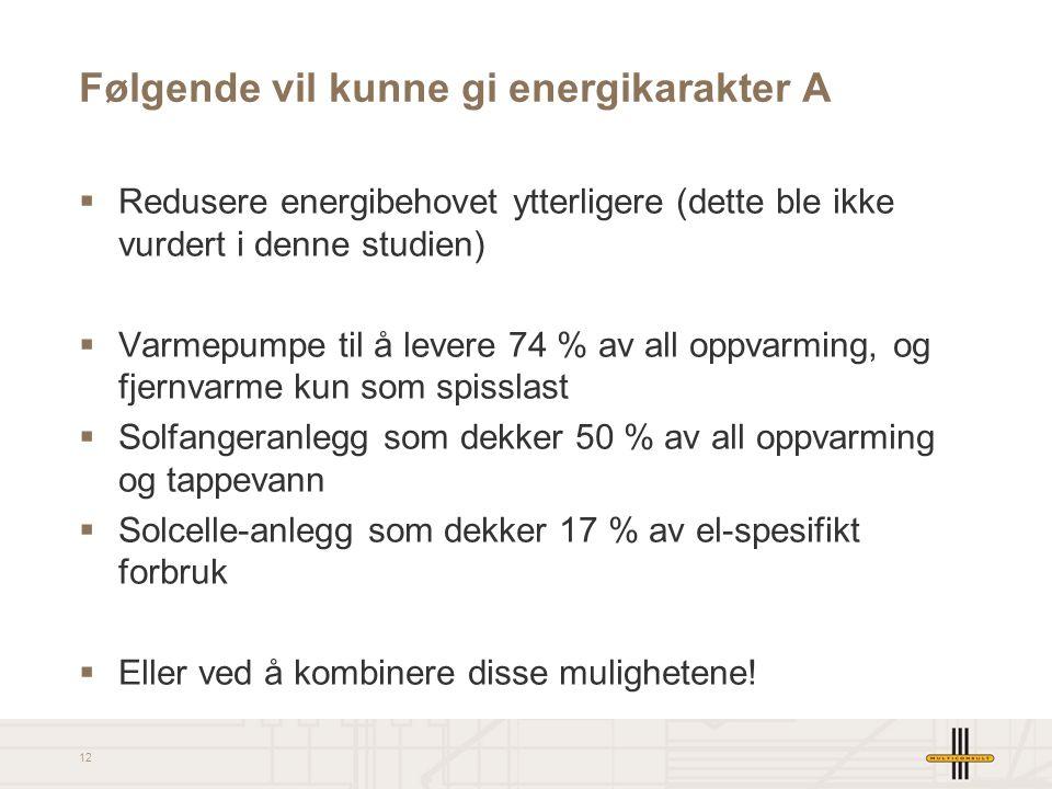 12 Følgende vil kunne gi energikarakter A  Redusere energibehovet ytterligere (dette ble ikke vurdert i denne studien)  Varmepumpe til å levere 74 %