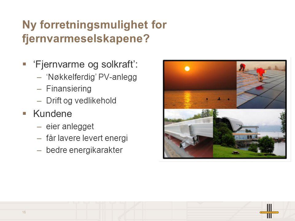 15 Ny forretningsmulighet for fjernvarmeselskapene?  'Fjernvarme og solkraft': –'Nøkkelferdig' PV-anlegg –Finansiering –Drift og vedlikehold  Kunden
