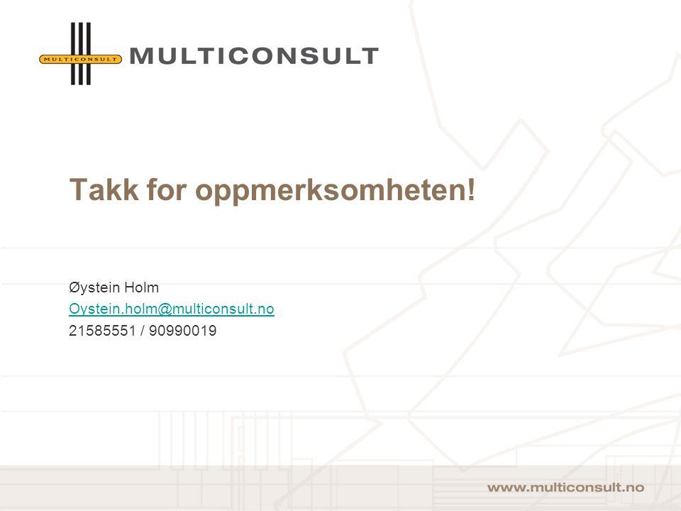 16 Takk for oppmerksomheten! Øystein Holm Oystein.holm@multiconsult.no 21585551 / 90990019