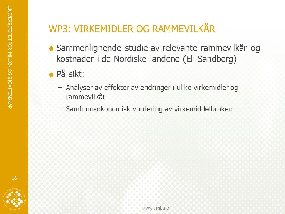 UNIVERSITETET FOR MILJØ- OG BIOVITENSKAP www.umb.no WP3: VIRKEMIDLER OG RAMMEVILKÅR  Sammenlignende studie av relevante rammevilkår og kostnader i de