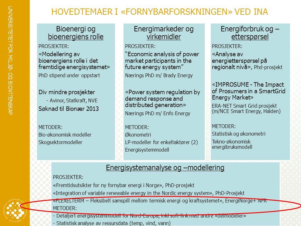 UNIVERSITETET FOR MILJØ- OG BIOVITENSKAP www.umb.no HOVEDTEMAER I «FORNYBARFORSKNINGEN» VED INA Energiforbruk og – etterspørsel PROSJEKTER: «Analyse a