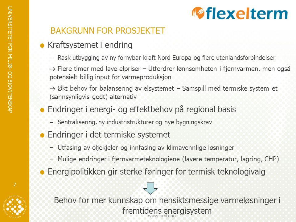 UNIVERSITETET FOR MILJØ- OG BIOVITENSKAP www.umb.no BAKGRUNN FOR PROSJEKTET  Kraftsystemet i endring –Rask utbygging av ny fornybar kraft Nord Europa