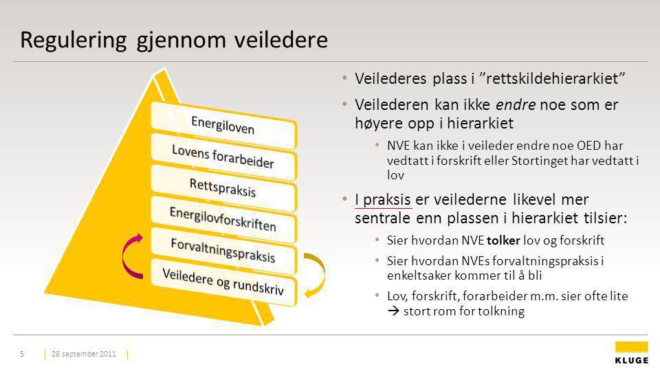 """Regulering gjennom veiledere 28 september 20115 Veilederes plass i """"rettskildehierarkiet"""" Veilederen kan ikke endre noe som er høyere opp i hierarkiet"""