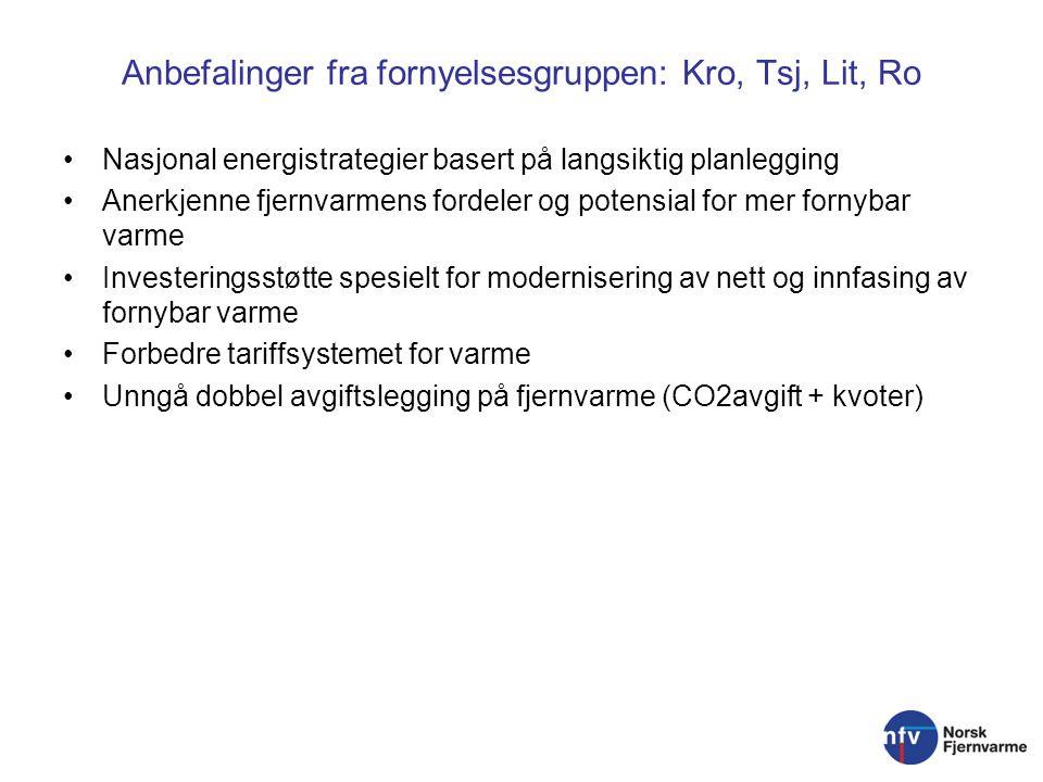 Anbefalinger fra fornyelsesgruppen: Kro, Tsj, Lit, Ro Nasjonal energistrategier basert på langsiktig planlegging Anerkjenne fjernvarmens fordeler og potensial for mer fornybar varme Investeringsstøtte spesielt for modernisering av nett og innfasing av fornybar varme Forbedre tariffsystemet for varme Unngå dobbel avgiftslegging på fjernvarme (CO2avgift + kvoter)