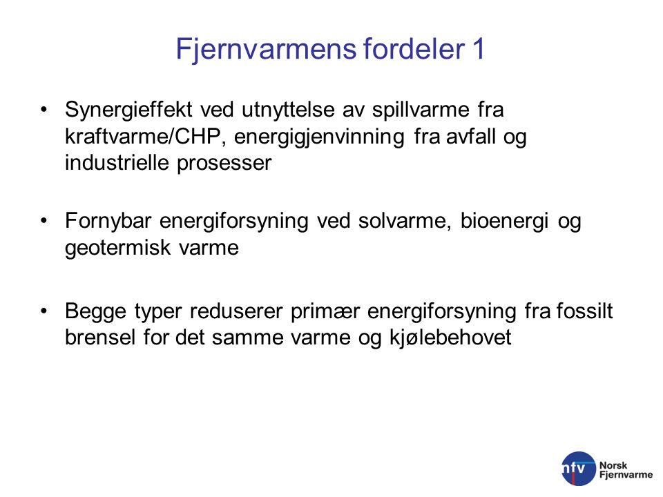Fjernvarmens fordeler 1 Synergieffekt ved utnyttelse av spillvarme fra kraftvarme/CHP, energigjenvinning fra avfall og industrielle prosesser Fornybar energiforsyning ved solvarme, bioenergi og geotermisk varme Begge typer reduserer primær energiforsyning fra fossilt brensel for det samme varme og kjølebehovet