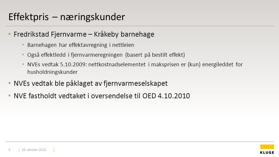 Effektpris – næringskunder Fredrikstad Fjernvarme – Kråkeby barnehage Barnehagen har effektavregning i nettleien Også effektledd i fjernvarmeregningen (basert på bestilt effekt) NVEs vedtak 5.10.2009: nettkostnadselementet i maksprisen er (kun) energileddet for husholdningskunder NVEs vedtak ble påklaget av fjernvarmeselskapet NVE fastholdt vedtaket i oversendelse til OED 4.10.2010 25.