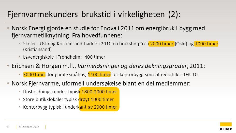 Fjernvarmekunders brukstid i virkeligheten (2): Norsk Energi gjorde en studie for Enova i 2011 om energibruk i bygg med fjernvarmetilknytning.