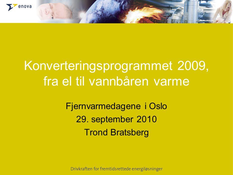 Konverteringsprogrammet 2009, fra el til vannbåren varme Fjernvarmedagene i Oslo 29.