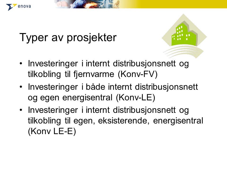 Typer av prosjekter Investeringer i internt distribusjonsnett og tilkobling til fjernvarme (Konv-FV) Investeringer i både internt distribusjonsnett og egen energisentral (Konv-LE) Investeringer i internt distribusjonsnett og tilkobling til egen, eksisterende, energisentral (Konv LE-E)