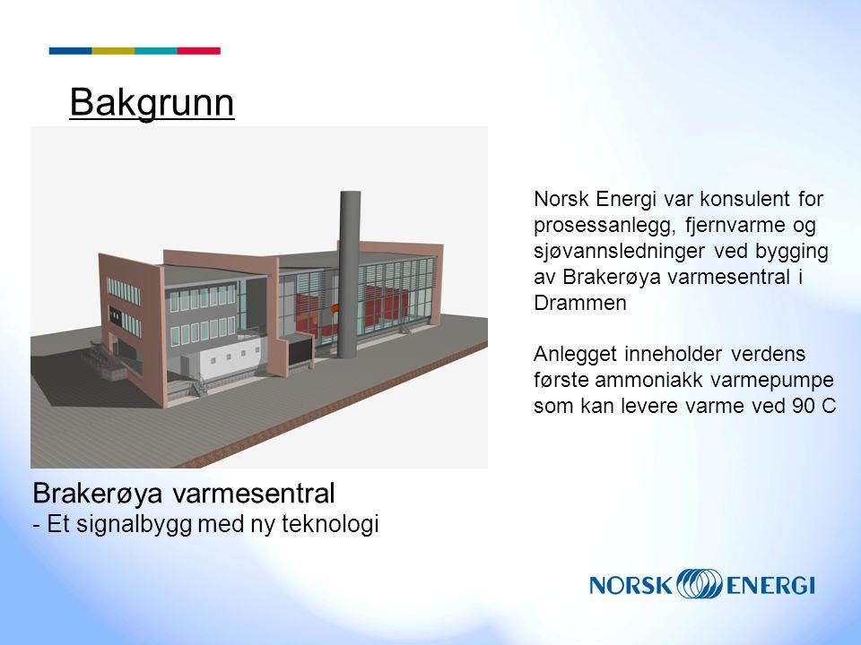 Bakgrunn Norsk Energi var konsulent for prosessanlegg, fjernvarme og sjøvannsledninger ved bygging av Brakerøya varmesentral i Drammen Anlegget inneho