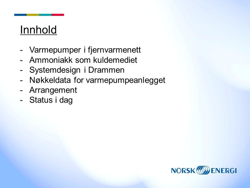 Innhold -Varmepumper i fjernvarmenett -Ammoniakk som kuldemediet -Systemdesign i Drammen -Nøkkeldata for varmepumpeanlegget -Arrangement -Status i dag