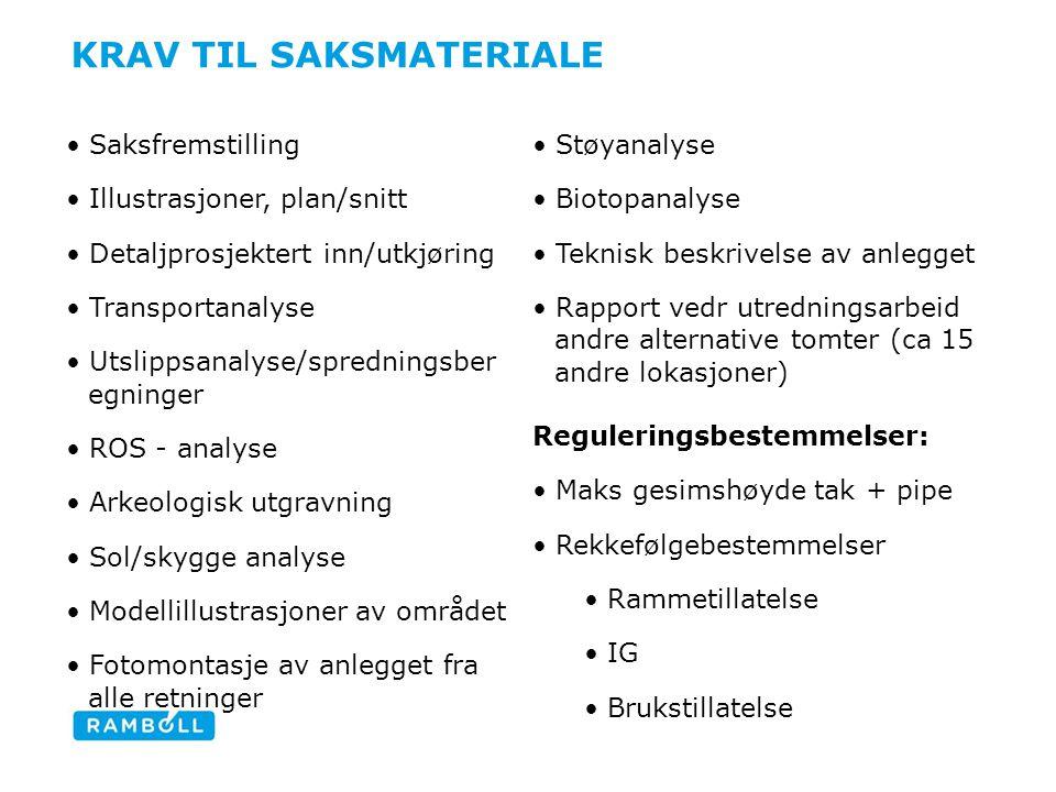 KRAV TIL SAKSMATERIALE Saksfremstilling Illustrasjoner, plan/snitt Detaljprosjektert inn/utkjøring Transportanalyse Utslippsanalyse/spredningsber egni
