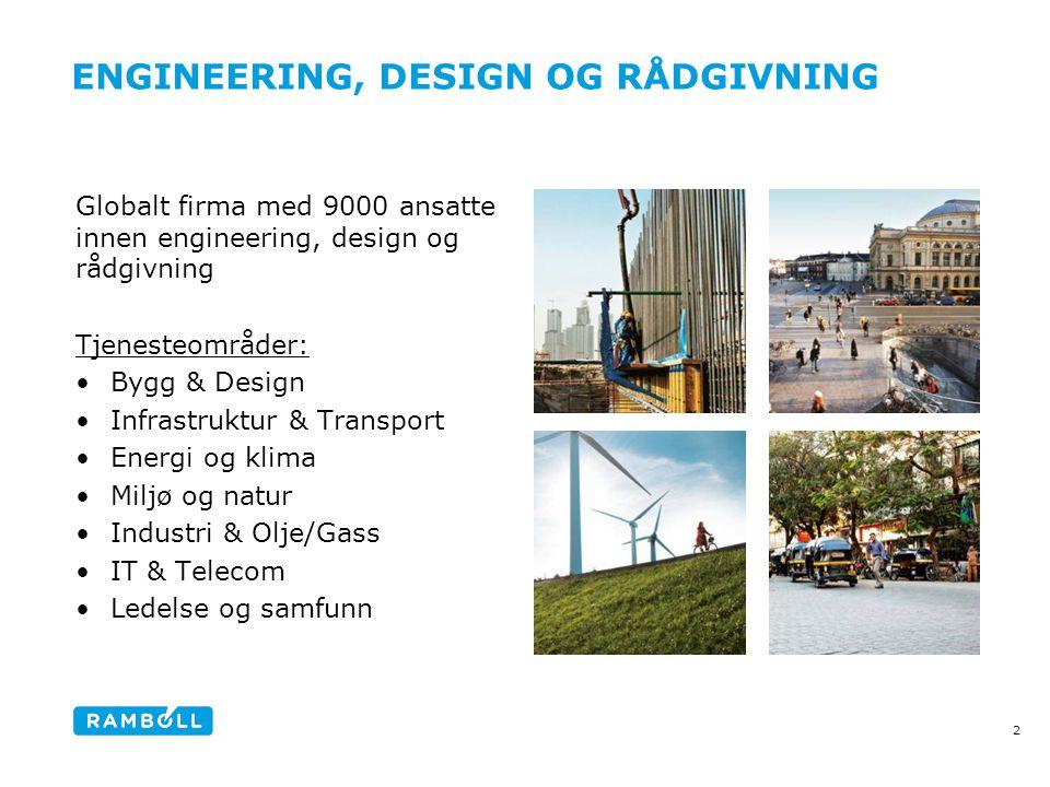 ENGINEERING, DESIGN OG RÅDGIVNING Content slide, with 4 images 2 Globalt firma med 9000 ansatte innen engineering, design og rådgivning Tjenesteområde