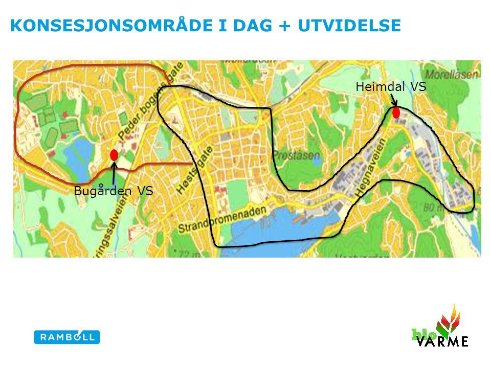 KONSESJONSOMRÅDE I DAG + UTVIDELSE Heimdal VS Bugården VS