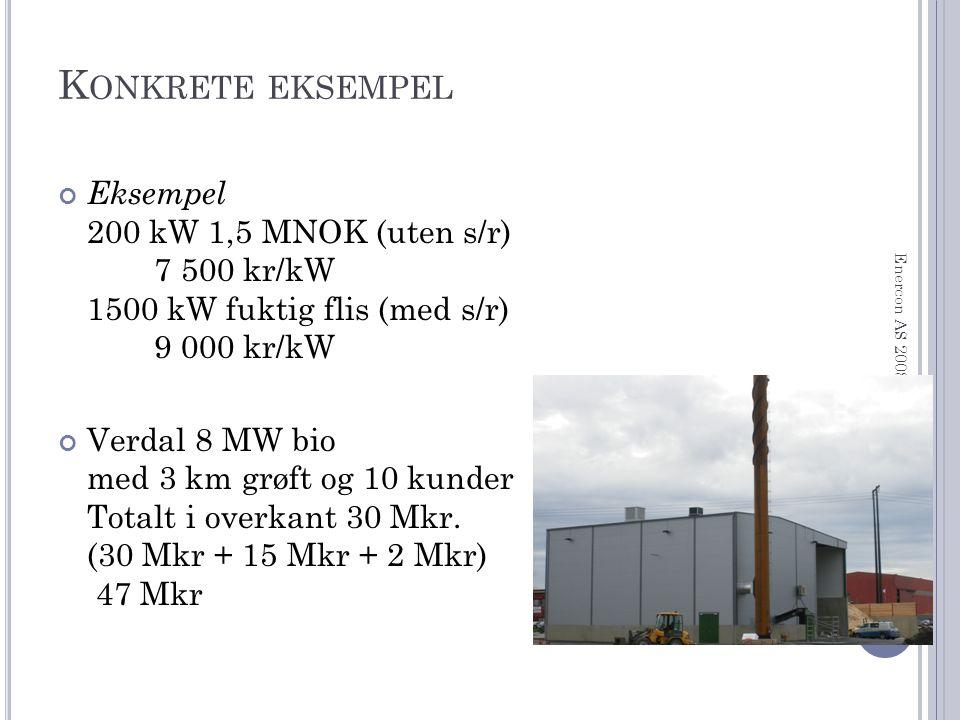 K ONKRETE EKSEMPEL Eksempel 200 kW 1,5 MNOK (uten s/r) 7 500 kr/kW 1500 kW fuktig flis (med s/r) 9 000 kr/kW Verdal 8 MW bio med 3 km grøft og 10 kunder Totalt i overkant 30 Mkr.