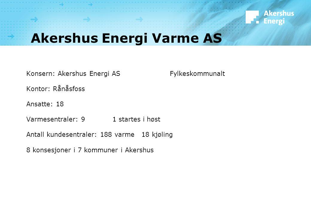 Akershus Energi Varme AS Konsern: Akershus Energi ASFylkeskommunalt Kontor: Rånåsfoss Ansatte: 18 Varmesentraler: 9 1 startes i høst Antall kundesentraler: 188 varme 18 kjøling 8 konsesjoner i 7 kommuner i Akershus
