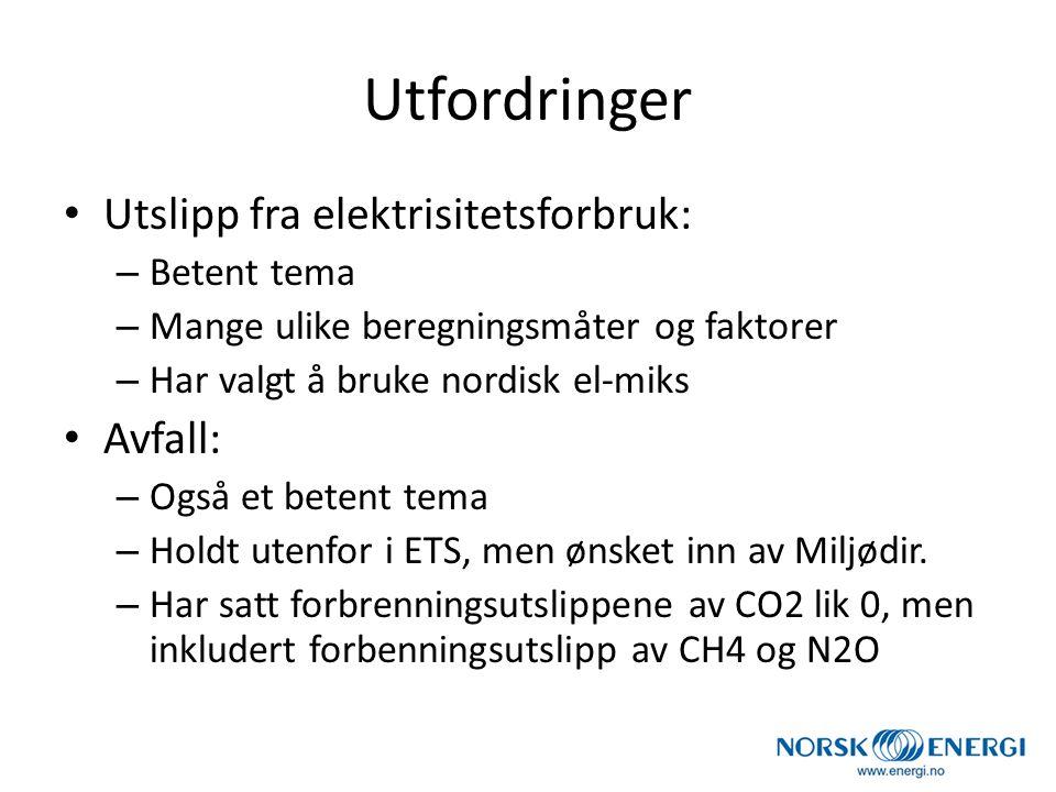 Utfordringer Utslipp fra elektrisitetsforbruk: – Betent tema – Mange ulike beregningsmåter og faktorer – Har valgt å bruke nordisk el-miks Avfall: – O
