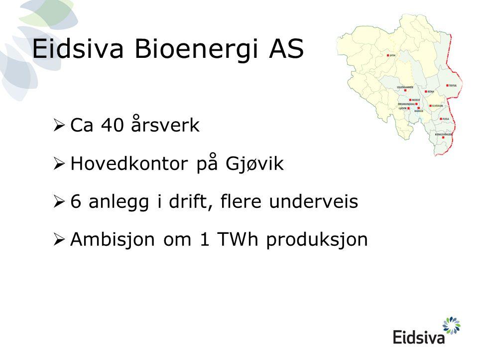 Eidsiva Bioenergi AS  Ca 40 årsverk  Hovedkontor på Gjøvik  6 anlegg i drift, flere underveis  Ambisjon om 1 TWh produksjon