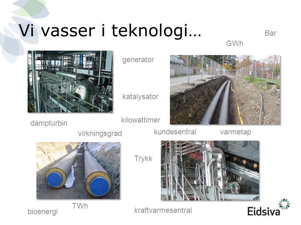 Vi vasser i teknologi… GWh generator dampturbin TWh varmetap virkningsgrad kraftvarmesentral katalysator Bar Trykk kilowattimer bioenergi kundesentral
