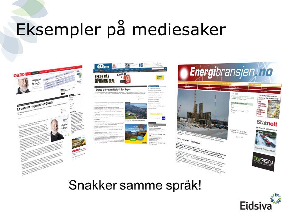 Eksempler på mediesaker Snakker samme språk!