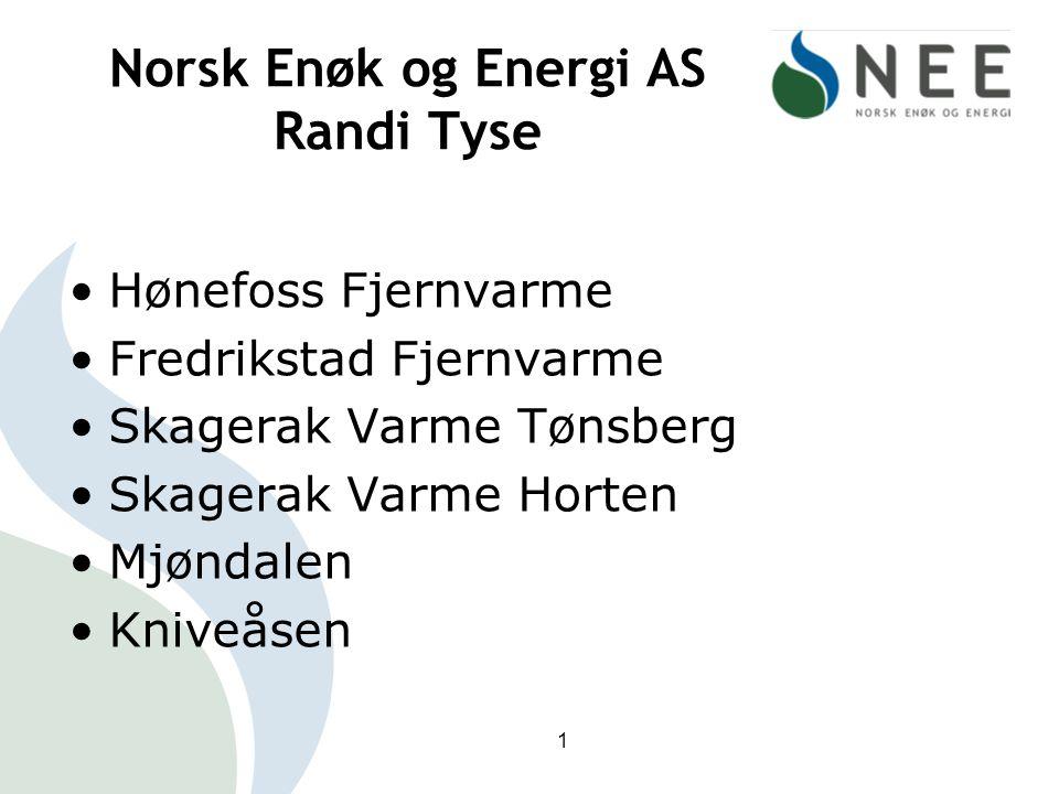 Norsk Enøk og Energi AS Randi Tyse Hønefoss Fjernvarme Fredrikstad Fjernvarme Skagerak Varme Tønsberg Skagerak Varme Horten Mjøndalen Kniveåsen 1
