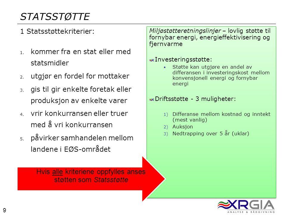 9 9 STATSSTØTTE 1 Statsstøttekriterier: 1. kommer fra en stat eller med statsmidler 2.