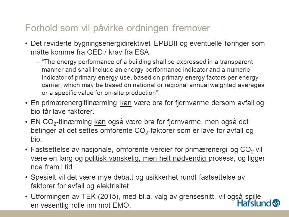 Forhold som vil påvirke ordningen fremover Det reviderte bygningsenergidirektivet EPBDII og eventuelle føringer som måtte komme fra OED / krav fra ESA