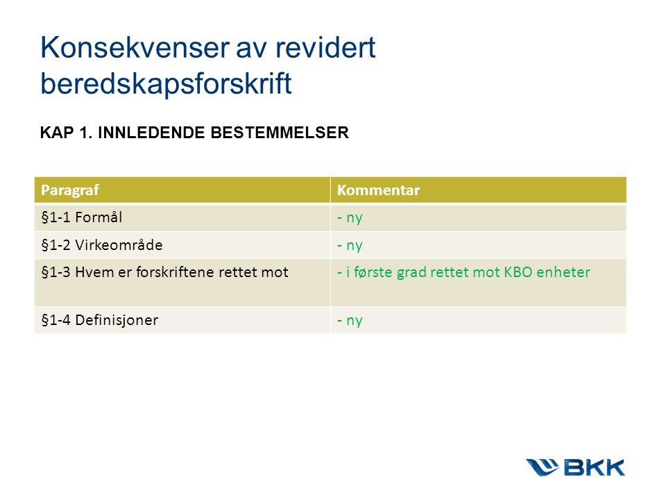 Konsekvenser av revidert beredskapsforskrift KAP 1.